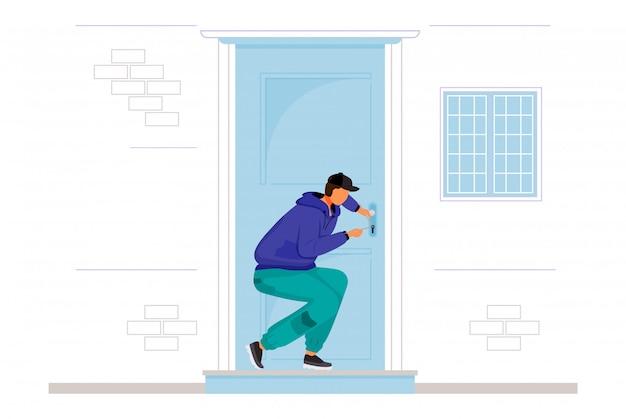 Ladrón rompiendo en personaje de la casa
