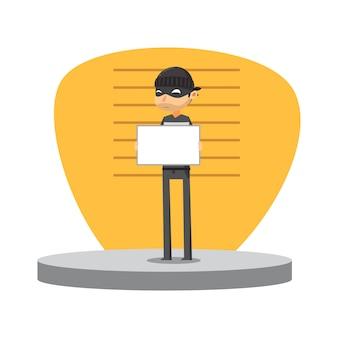 Un ladrón sostiene la pizarra blanca. ilustración vectorial aislado