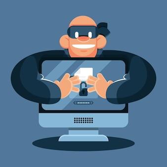 Ladrón de tecnología robando datos de la computadora