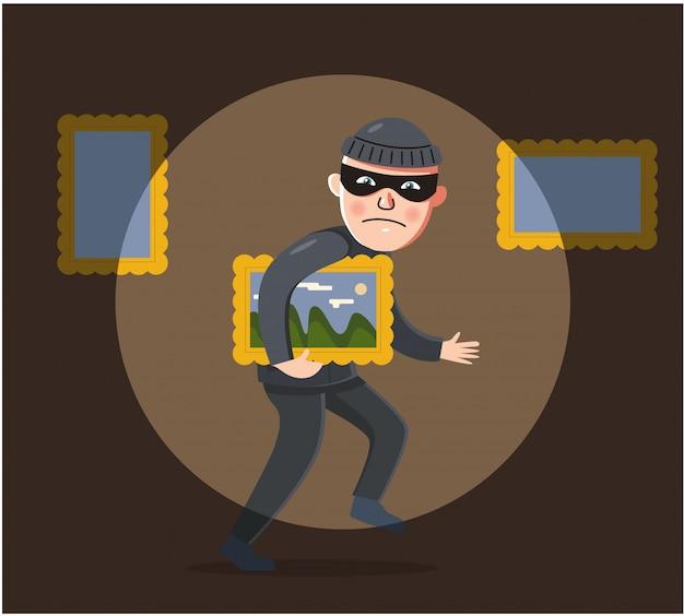 Un ladrón con un traje negro está tratando de robar una pintura de un museo.
