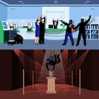 Ladrones armados cometiendo robo en composiciones planas de bancos y museos.