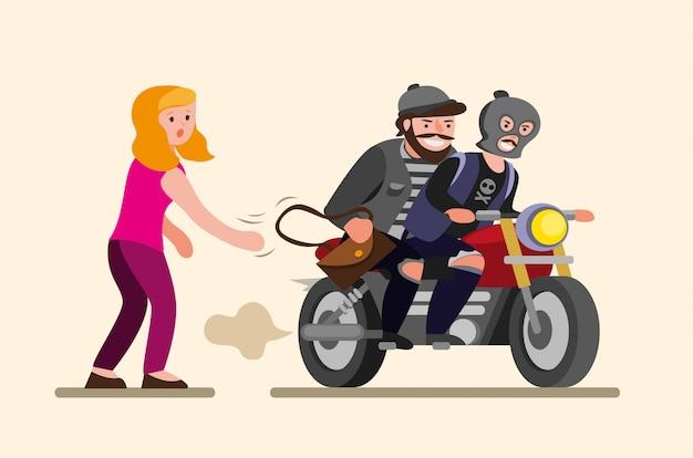 Los ladrones le arrebatan el bolso a la niña mujer y le roban su bolso al asaltante en moto en una ilustración plana de dibujos animados