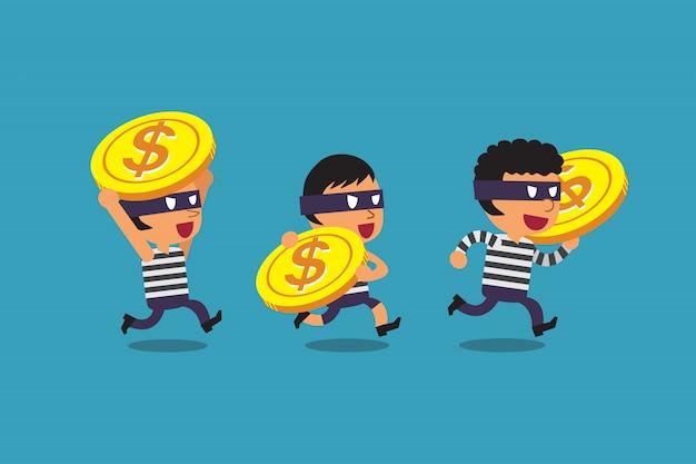 Ladrones de dibujos animados con monedas grandes