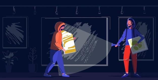 Ladrones pareja robando museo exhibe la escena del crimen robando robo concepto dos ladrones sosteniendo fotos moderna noche galería de arte boceto interior de cuerpo entero