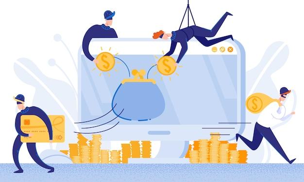 Los ladrones roban dinero del sistema de banca electrónica. vector.