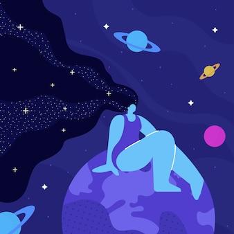 Lady cosmos, meditacion plana ilustracion