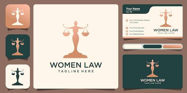 Lady lawyer logo justice plantilla de diseño