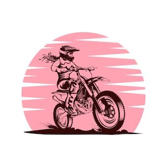 Lady sunset motocross vector illustration