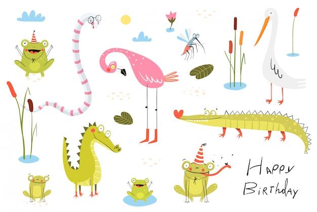 Lagarto, ranas, caimanes, cocodrilos y flamencos con pájaros de pato o caña. pantano y lago doodle colección de dibujos animados de animales clipart para niños.