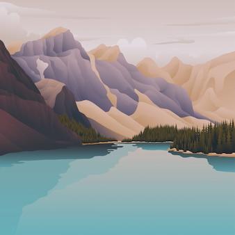 Lago azul en la montaña