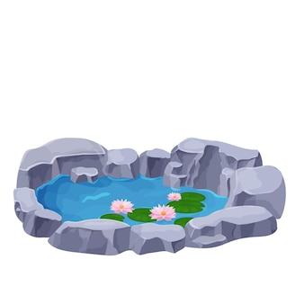 Lago con flores de lirio de agua tranquila espadaña y piedras en estilo de dibujos animados