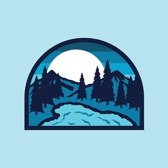 Lake camp hike montaña naturaleza parche pin ilustración
