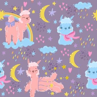 Lama divertido de patrones sin fisuras de alpaca y arco iris