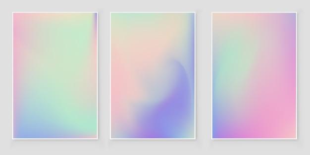 Lámina holográfica gradiente cubierta iridiscente conjunto de portada abstracta