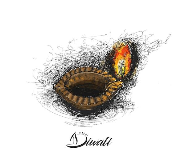 Lámpara de aceite - diya, festival de diwali, ilustración de vector de boceto dibujado a mano.