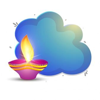 Lámpara de aceite hermosa para la celebración feliz de diwali.