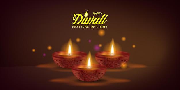 Lámpara de aceite iluminada realista 3d para el feliz festival de luz diwali de la india con tarjeta de felicitación de luz bokeh
