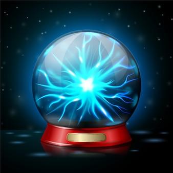 Lámpara de bola de plasma con electricidad brillante sobre fondo oscuro
