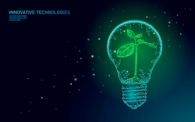 Lámpara bombilla ahorro de energía ecología concepto. poligonal azul claro brote pequeña planta de plántulas dentro de electricidad verde energía energía ilustración