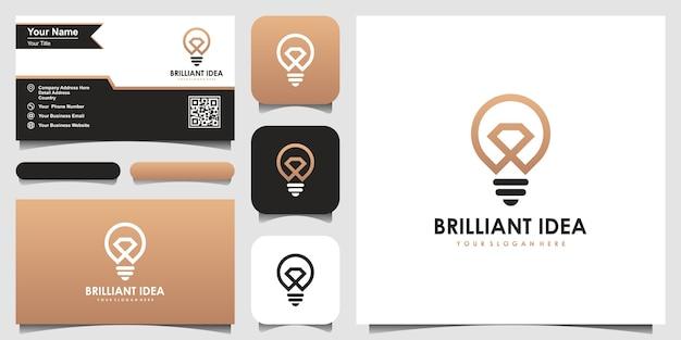 Lámpara de bombilla creativa y logotipo de diamante y diseño de tarjeta de visita.