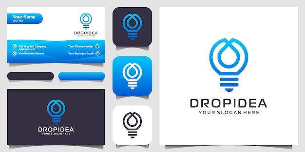 Lámpara de bombilla creativa y logotipo de gota o agua y diseño de tarjeta de visita. idea bombilla creativa y logotipo de aceite.