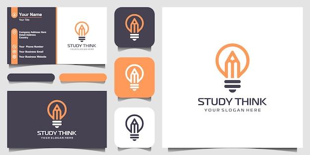 Lámpara de bombilla creativa con logotipo de lápiz y diseño de tarjeta de visita.