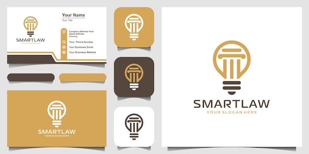 Lámpara de bombilla creativa y logotipo de pilar y diseño de tarjetas de visita. idea de ley de bombilla creativa, logotipo de abogado.