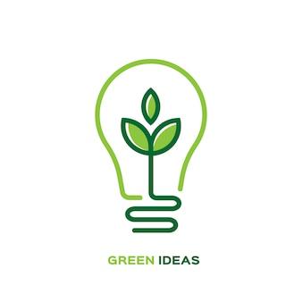Lámpara bombilla ecología con logo de hoja.