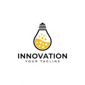 Lámpara de bombilla y laboratorio de ciencia, creativo, diseño de logotipo de innovación