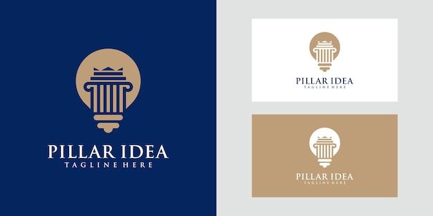 Lámpara de bombilla y logo de pilar. abogado, justicia, ley, logo creativo