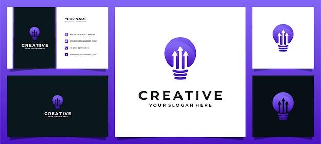 Lámpara de bombilla de logotipo creativo con concepto de flecha para empresa de tecnología y tarjeta de visita