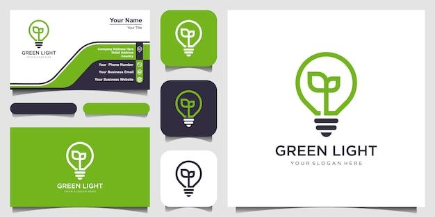 Lámpara de bombilla, logotipo de hoja de naturaleza y diseño de tarjeta de visita