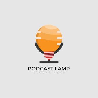 Lámpara de bombilla de podcast creativa idea de inspiración para el diseño del logotipo