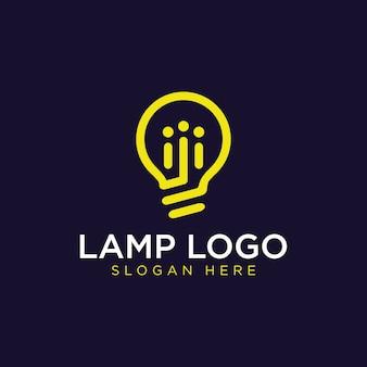Lámpara de bombilla simple y moderna, idea, creatividad, innovación, inspiración de diseño de logotipo de energía
