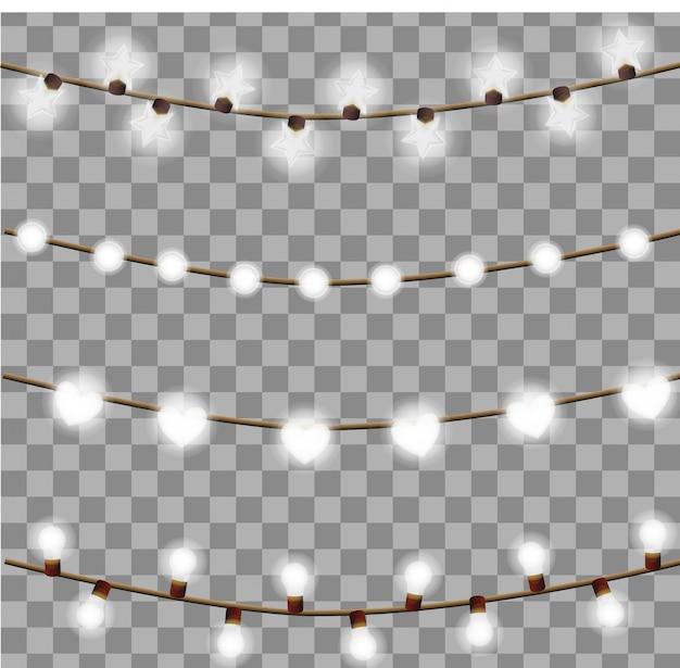 Lámpara brillante guirnaldas sobre un fondo transparente