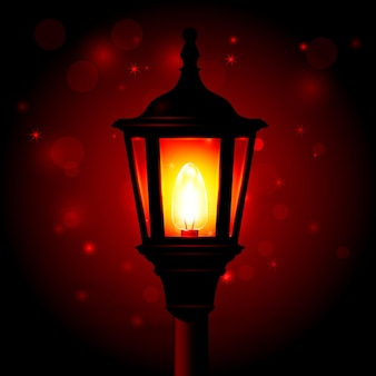 Lámpara de calle - linterna en poste y fondo borroso