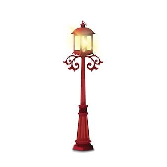 Lámpara de calle de la vendimia aislada en el fondo blanco
