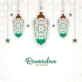 Lámpara decorativa islámica ramadan kareem fondo