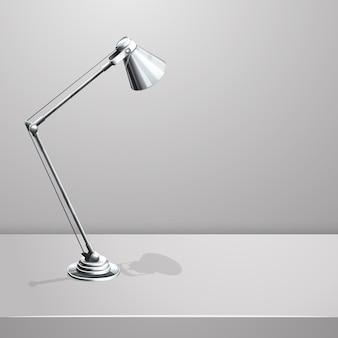Lámpara de escritorio sobre mesa. fondo blanco vacío. objeto y equipo, foco eléctrico,