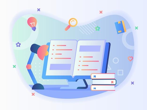 Lámpara de estudio en el libro de texto abierto frontal en concepto de libro de lectura de pantalla de computadora con diseño vectorial de estilo plano.