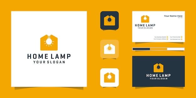 Lámpara de hogar diseño de logotipo moderno y tarjeta de visita.