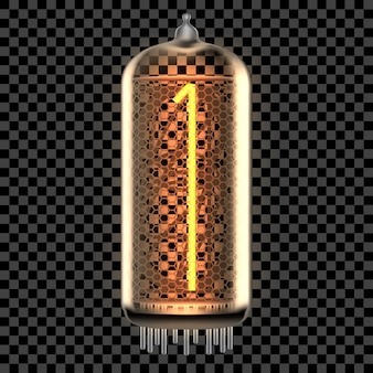 Lámpara indicadora de tubo nixie con número