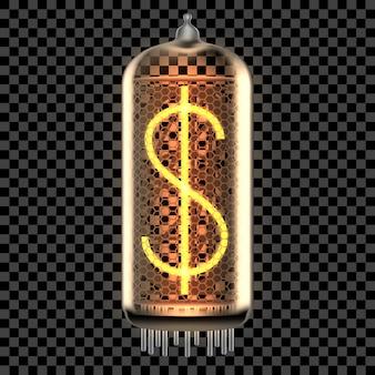 Lámpara indicadora de tubo nixie con símbolo de dólar