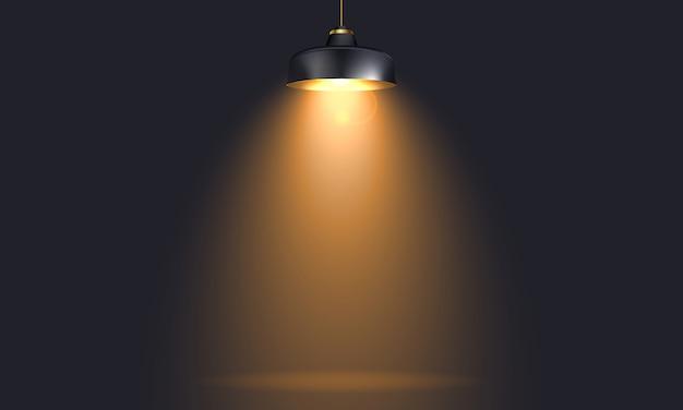 Lampara industrial con luz realista mock up