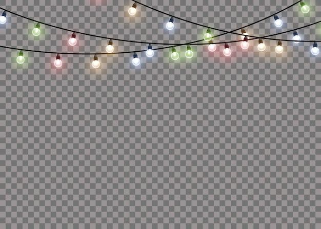 Lámpara de luz de resplandor de colores en cuerdas de alambre aislado fondo transparente. decoraciones de guirnaldas.