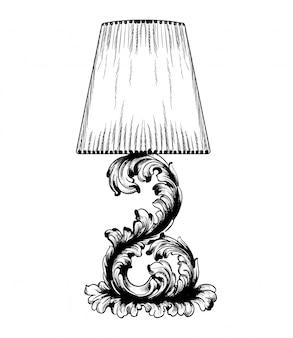 Lámpara de mesa barroca vector de línea arte.