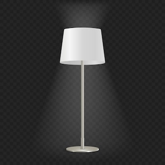 Lámpara de pie decorativa vintage iluminada realista 3d aislada sobre fondo transparente.