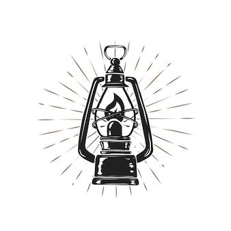 Lámpara de queroseno dibujado a mano vintage sobre fondo de rayos de sol. elemento para logotipo, etiqueta, emblema, signo, cartel. ilustración