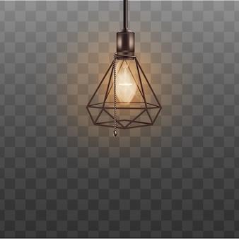 Lámpara de techo estilo loft para interiorismo hipster. pantalla de lámpara de diseño negro realista en forma de diamante triangular, bombilla fría con cuerda de interruptor de cadena de cuentas - transparente aislado