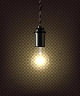 Lámpara vintage aislada sobre fondo transparente oscuro.
